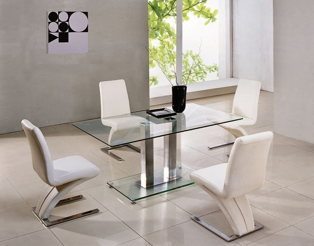 Glass And Chrome Dining Tables And Chairs Pertaining To Recent Savio Large Glass Chrome Dining Room Table & 4 Z Chairs Set  150 Cm (View 8 of 20)