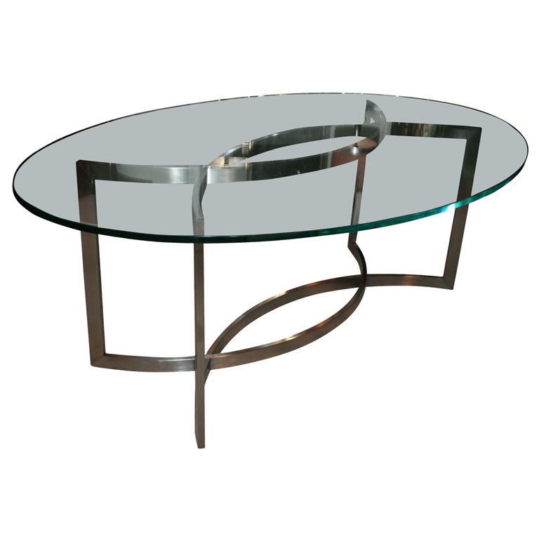 Glass And Stainless Steel Dining Tablepaul Le Geard Ozfjvnr With Regard To Popular Glass And Stainless Steel Dining Tables (View 13 of 20)