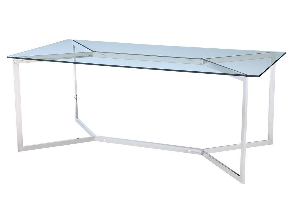 Glass And Stainless Steel Dining Tables Intended For Well Liked Stainless Steel And Glass Dining Table (View 9 of 20)
