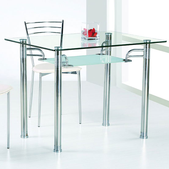 Glass And Stainless Steel Dining Tables Throughout Most Popular Glass Top Dining Tables (View 14 of 20)
