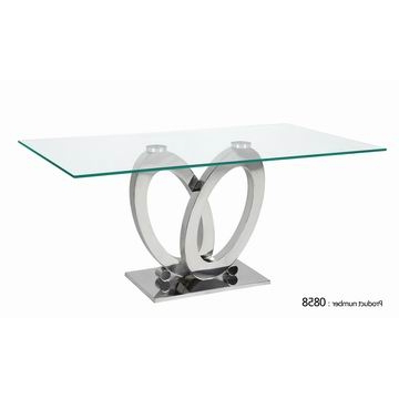 Glass And Stainless Steel Dining Tables With Regard To Current 0858, China High Qulity Glass Dining Table With Clear Glass Top And (View 12 of 20)