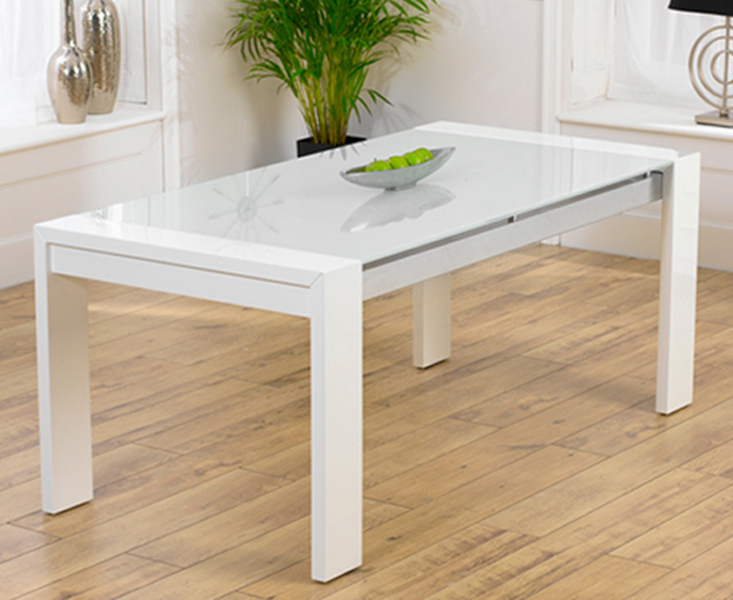 Glass And White Gloss Dining Tables Regarding Famous Ex Display Cannes 180Cm High Gloss White Dining Table (Gallery 15 of 20)