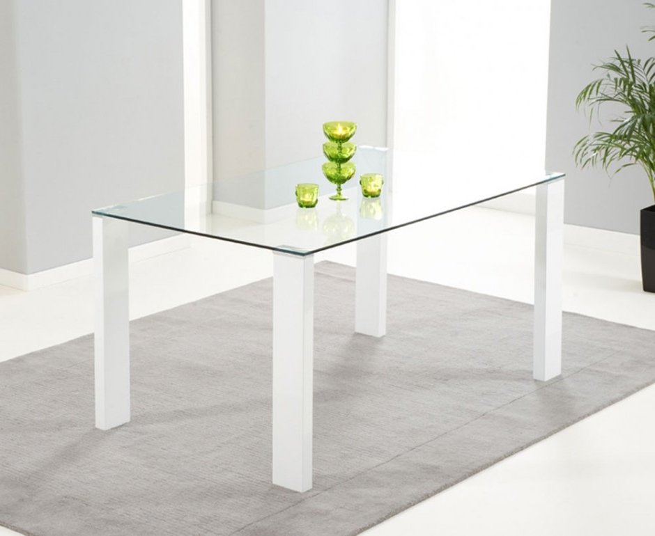 Glass And White Gloss Dining Tables Throughout Most Up To Date Rectangular Shaped Clear Glass Dining Table Together Four Hexagonal (View 20 of 20)