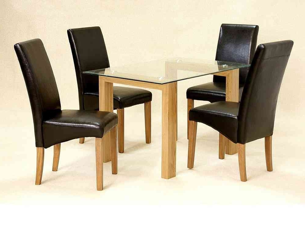 Glass Dining Table And 4 Chairs Clear Small Set Oak Wood Finish Intended For Well Known Black Glass Dining Tables And 4 Chairs (Gallery 20 of 20)