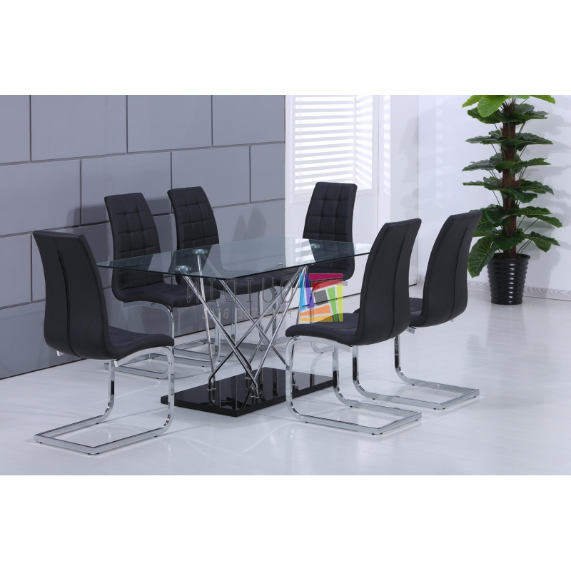 Glass Dining Table With 6 Black Faux Leather Chairs Modern Design Intended For 2017 Glass Dining Tables And Leather Chairs (Gallery 17 of 20)