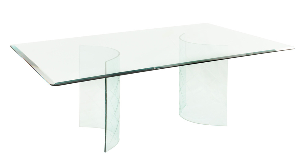 Glass Dining Table With Curved Etches Bases 1950S — Lobel Modern Nyc Within Well Liked Curved Glass Dining Tables (View 11 of 20)