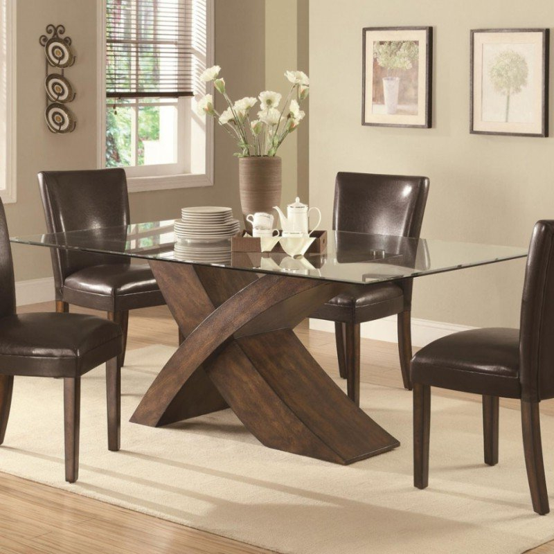 Glass Dining Table With Wood Base – Foter Within Current Glass Dining Tables With Wooden Legs (View 7 of 20)