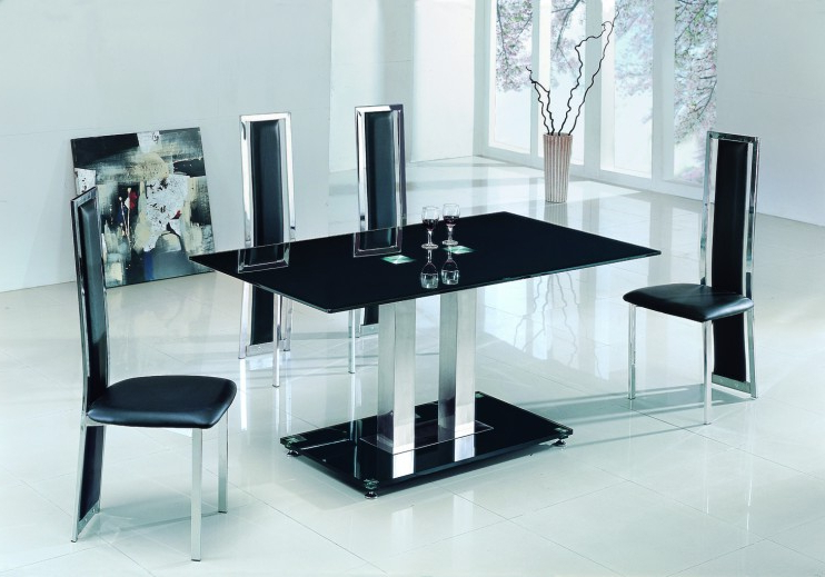 Glass Dining Tables And 6 Chairs Intended For Best And Newest Alba Large Chrome Black Glass Dining Table With Amalia Chairs (View 8 of 20)