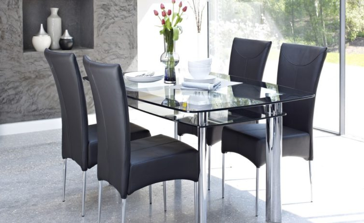 Glass Dining Tables And 6 Chairs Pertaining To Best And Newest Black Rectangular Glass Dining Room Furniture Table And Chairs (View 10 of 20)