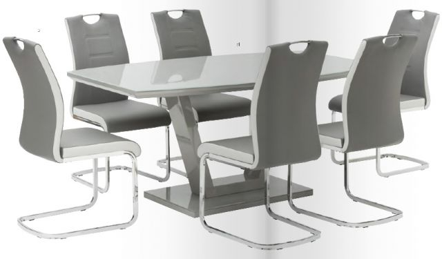 Glass Dining Tables And 6 Chairs Throughout Well Known World Furniture Venice High Gloss & Glass White Or Grey Dining Table (View 13 of 20)