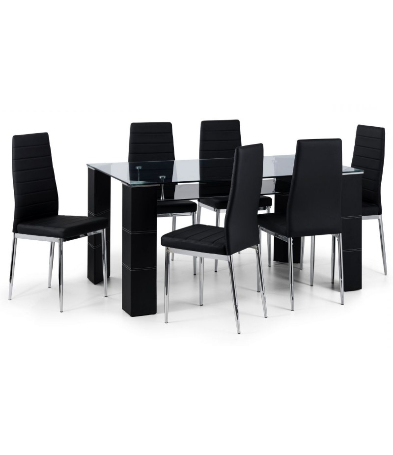 Glass Dining Tables And 6 Chairs Within Current 6 Seat Dining Sets (View 17 of 20)