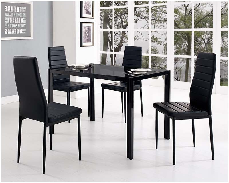 Glass Dining Tables And Leather Chairs In Most Up To Date Glass Top Kitchen Table And Chairs Black Glass Dining Table And With (View 4 of 20)