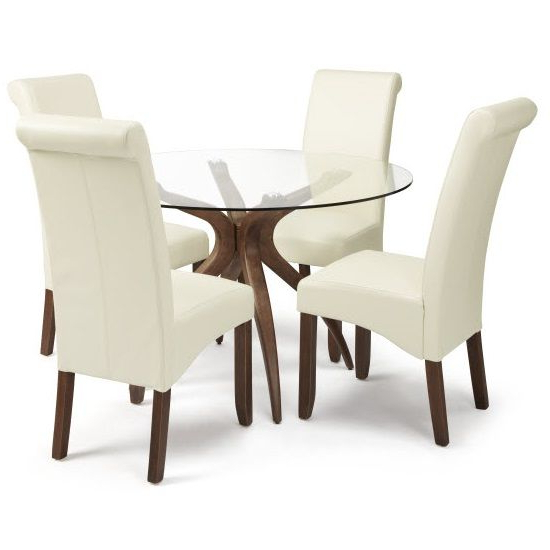 Glass Dining Tables And Leather Chairs Intended For Most Current Jenson Glass Dining Table And 4 Ameera Chair In Cream Pu Leather (Gallery 14 of 20)