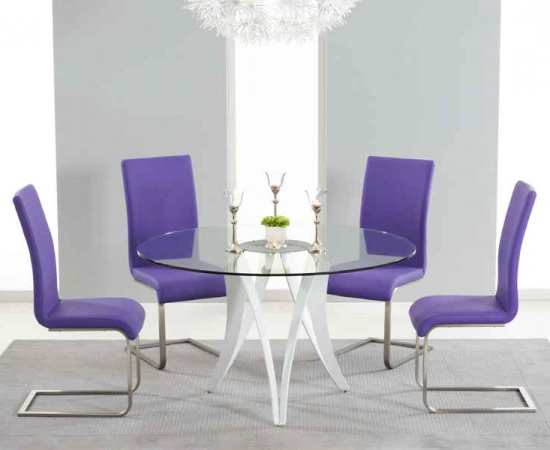 Glass Dining Tables And Leather Chairs Regarding Widely Used Bellevue 130Cm Round Glass Dining Table With 4 Malibu Purple Leather (Gallery 18 of 20)