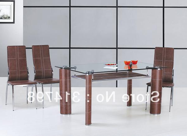 Glass Dining Tables And Leather Chairs With Most Recently Released Glass Dining Table With Mdf Attached Hard Leather Legs, Dining Chair (Gallery 8 of 20)