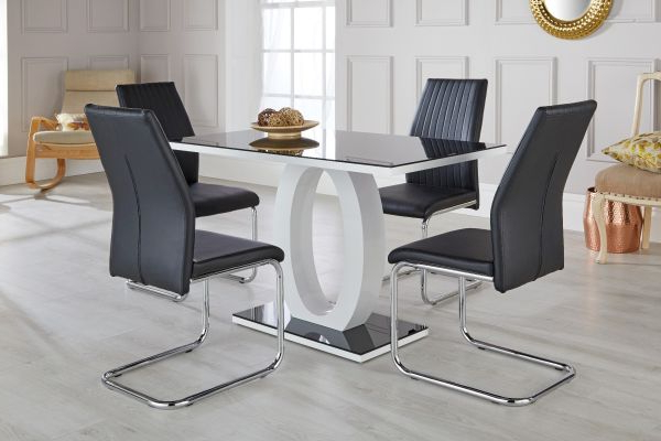 Glass Dining Tables And Leather Chairs With Regard To Well Liked Giovani Black & White High Gloss Dining Table Set – Free Delivery (Gallery 6 of 20)