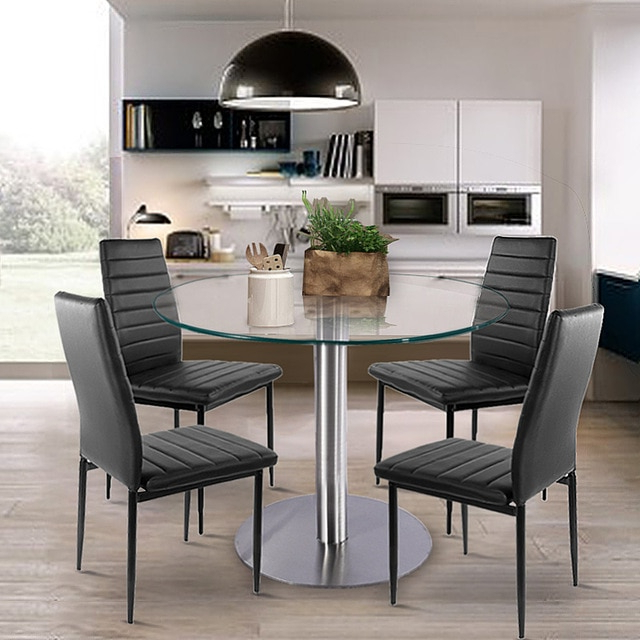 Glass Dining Tables And Leather Chairs With Widely Used Aliexpress : Buy Glass Dining Set Round Dining Table With 4Pcs (Gallery 20 of 20)