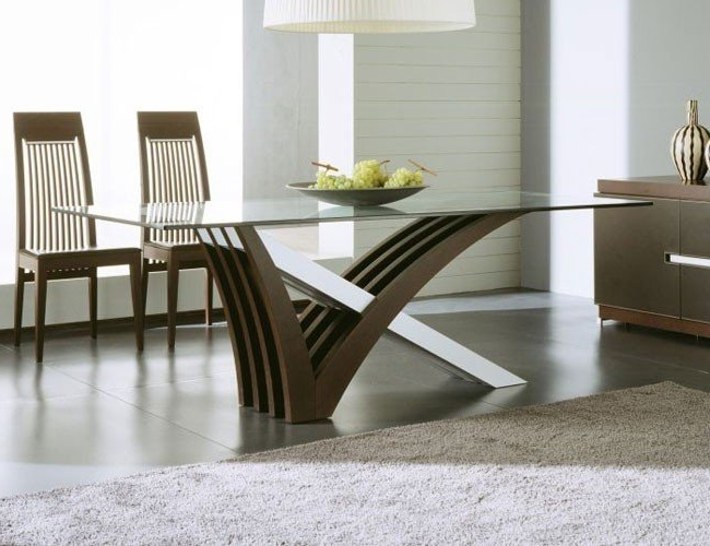 Glass Dining Tables Inside Favorite Glass Top Dining Tables With Wood Base – Foter (View 8 of 20)