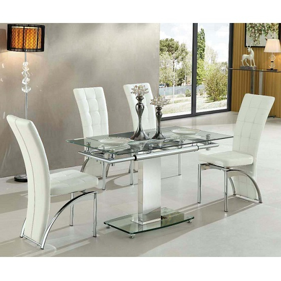 Glass Dining Tables White Chairs In 2017 Enke Extending Glass Dining Table With 4 Ravenna White (View 5 of 20)