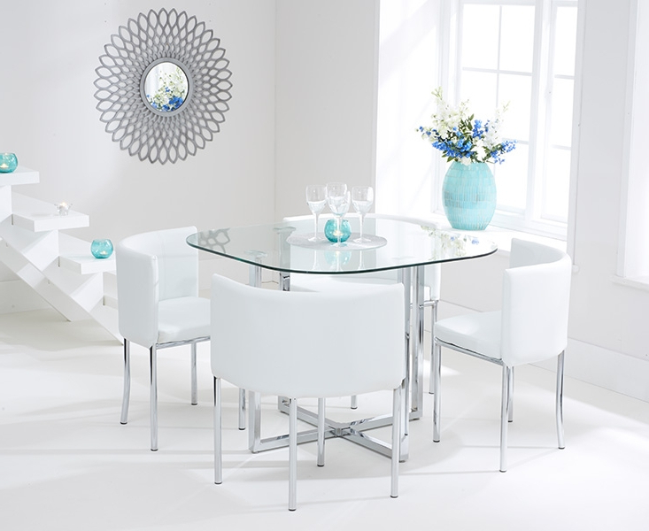 Glass Dining Tables White Chairs In Most Up To Date Ascot Stowaway Glass Dining Set With 4 White Chairs (View 10 of 20)