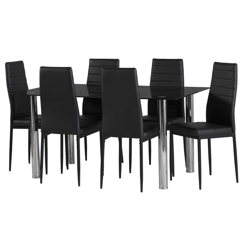 Glass Dining Tables With 6 Chairs Intended For Famous Dior Black Glass Dining Table & 6 X Betty Dining Chair • Decofurn (View 18 of 20)