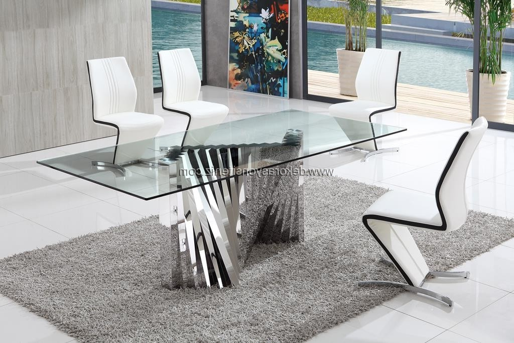 Glass Dining Tables With Trendy Plisset Glass Dining Table With Amari Dining Chairs (View 20 of 20)