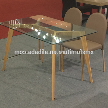 Glass Dining Tables With Wooden Legs Inside Well Known Knock Down Tempered Glass Top Wooden/wood Like Legs Dining Table (View 8 of 20)