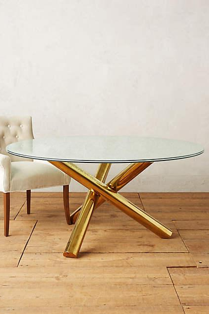 Glass Dining Tables With Wooden Legs Within Current Gold Legs Crackled Glass Dining Table (View 11 of 20)