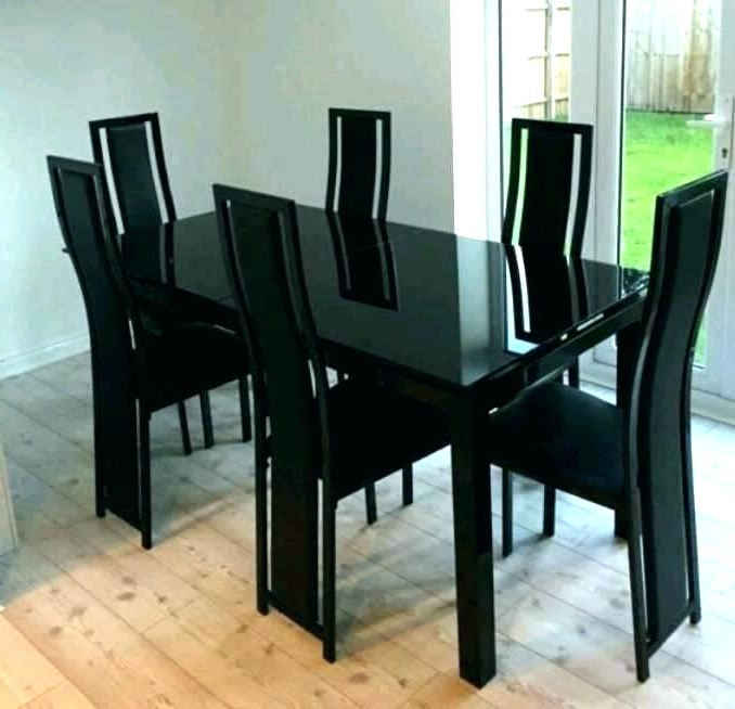 Glass Extendable Dining Tables And 6 Chairs For Famous Glass Extendable Dining Table And 6 Chairs Set Imposing Black (View 20 of 20)