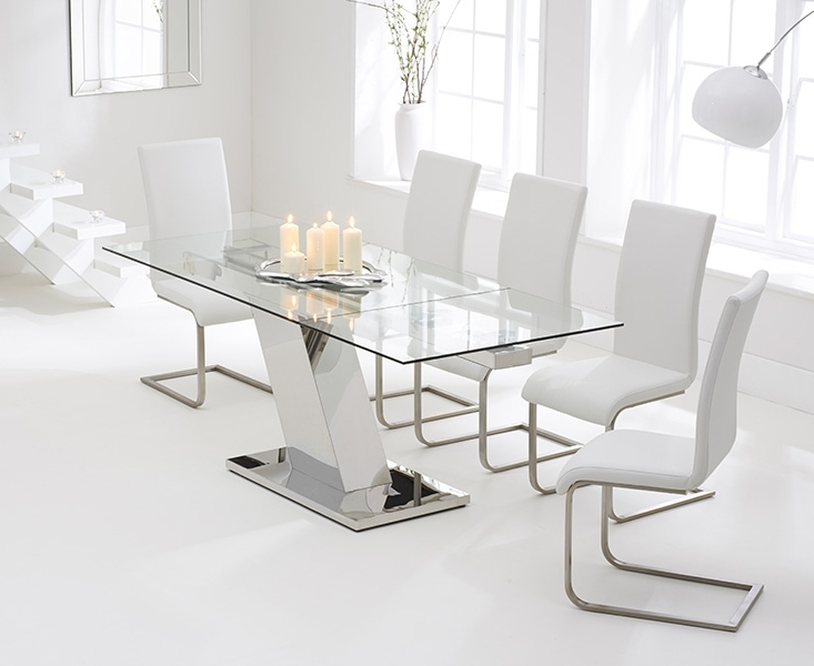 Glass Extendable Dining Tables And 6 Chairs In Most Popular Conrad Glass 140Cm Extending Dining Set With 6 Boston Ivory White (Gallery 4 of 20)