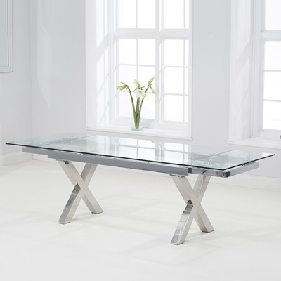 Glass Extending Dining Tables In Recent Centro Glass Extending Dining Table With 10 Harvey Grey Chairs (View 13 of 20)