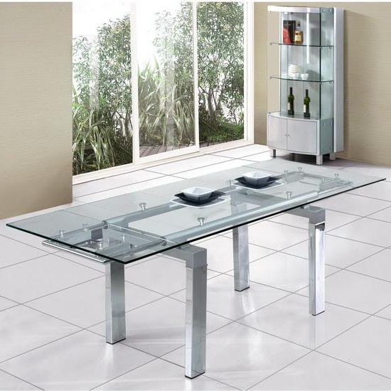 Glass Extending Dining Tables Pertaining To Well Liked Clear Extendable Glass Dining Table @ Homehighlight.co (View 9 of 20)