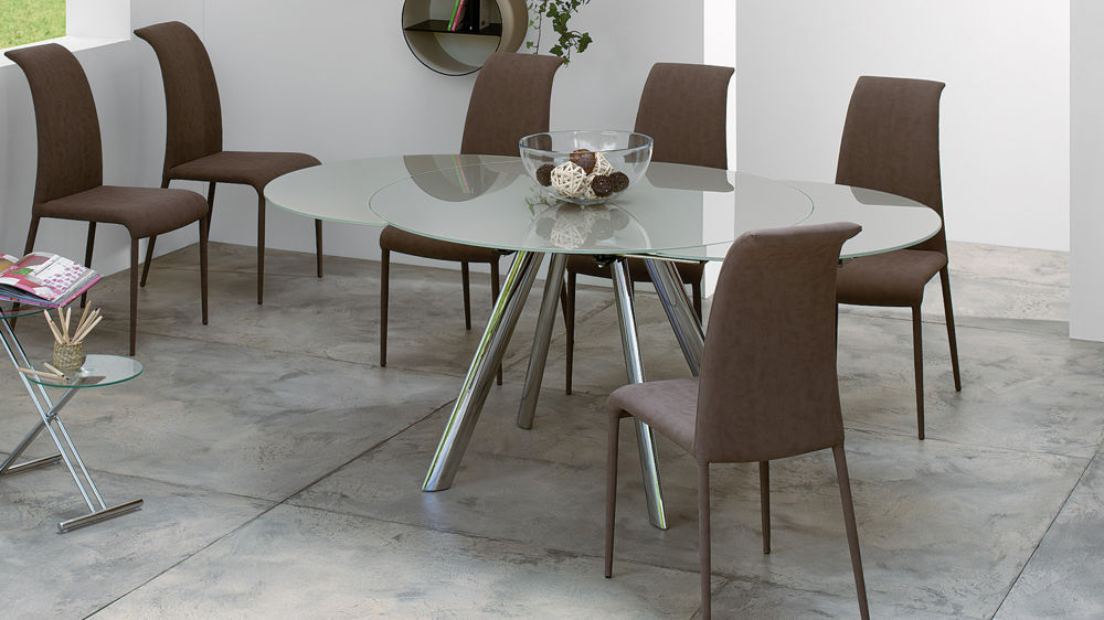 Glass Folding Dining Tables For Most Popular Trendy Extending Round Glass Dining Table (View 3 of 20)
