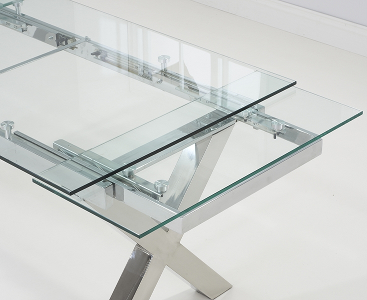 Glass Folding Dining Tables Intended For Favorite April Glass 160Cm 240Cm Extending Dining Table (View 7 of 20)