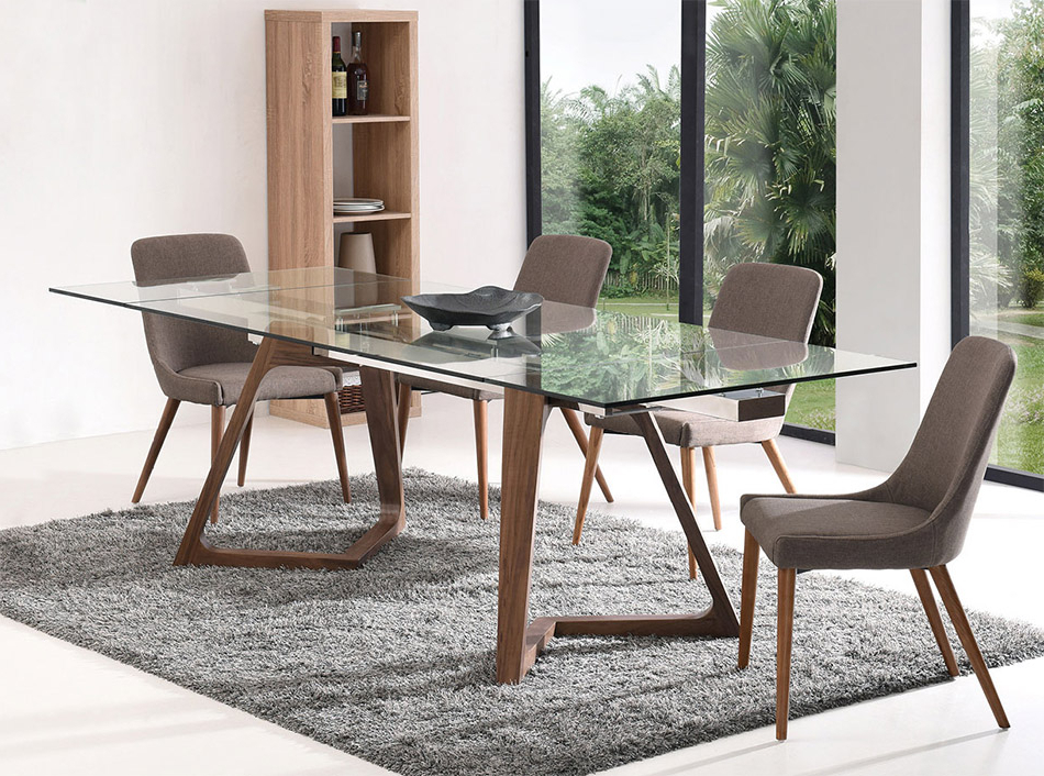 Glass Folding Dining Tables Pertaining To Well Liked Modern Extendable Dining Table Ef  (View 10 of 20)