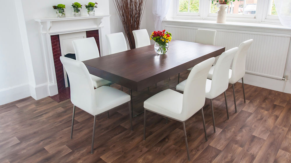 Glass Legs And Chunky Table Top Throughout Dark Wood Dining Tables (View 11 of 20)