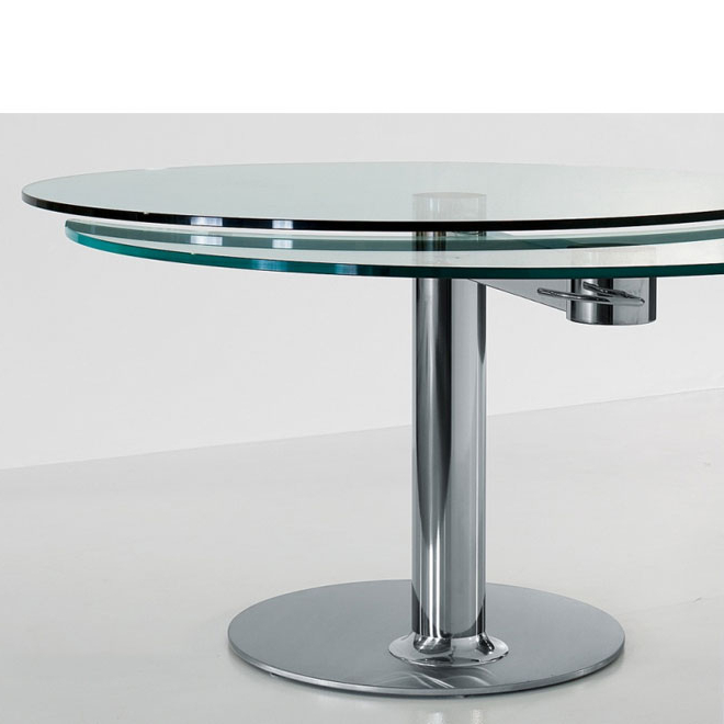 Glass Round Extending Dining Tables Pertaining To Popular Bonaldo – Plinto Round Glass Extension Table (View 5 of 20)