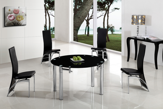 Glass Round Extending Dining Tables With Most Recent Oasis Extending Dining Table In Black Glass With Chrome (View 11 of 20)