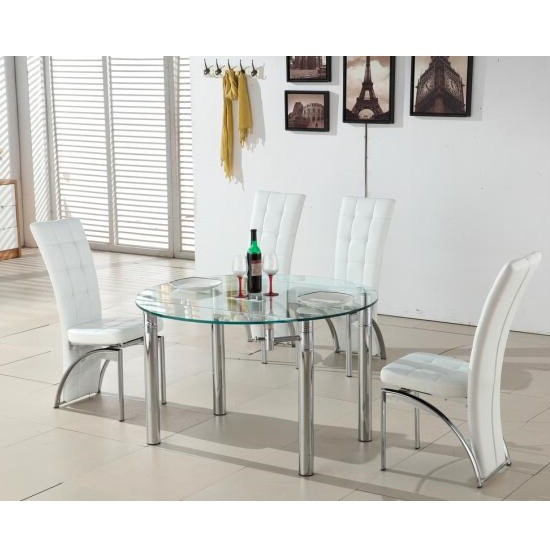 Glass Round Extending Dining Tables Within Best And Newest Oasis Round Extending Glass Dining Table And 4 White Chairs (View 13 of 20)