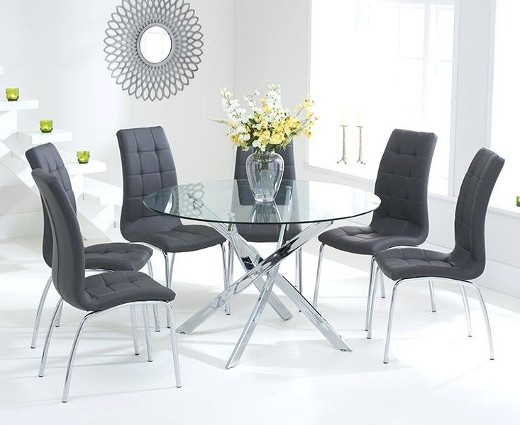 Glass Table For 6 Black Glass Table And 6 Chairs Ebay Round Glass Intended For Well Known Black Glass Dining Tables And 6 Chairs (View 14 of 20)