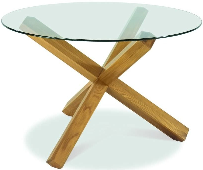 Glass Top Oak Dining Tables Regarding Most Popular Buy Bentley Designs Lyon Oak Glass Top Round Dining Table – Dia (View 8 of 20)