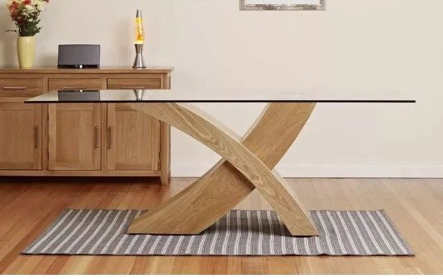 Glass Top Oak Dining Tables Throughout 2017 Dining Table Glass Top Oak X Cross Legs Dining Room Furniture Modern (View 10 of 20)