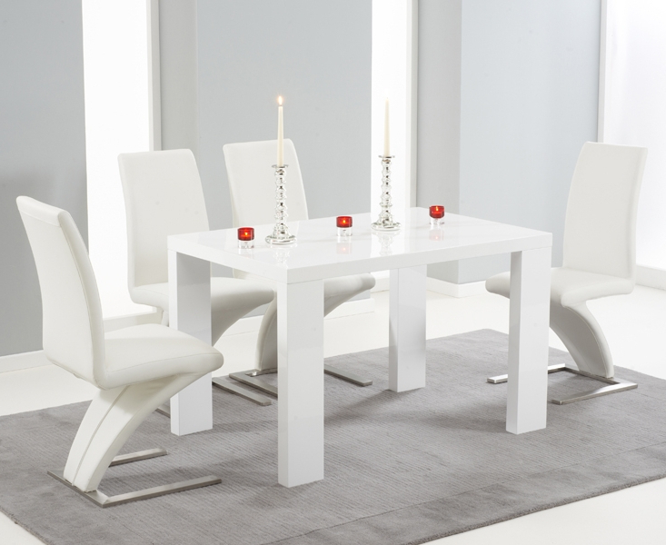 Gloss Dining Set Within Newest Forde White High Gloss 150Cm Dining Set With 4 White Fusion Chairs (View 10 of 20)
