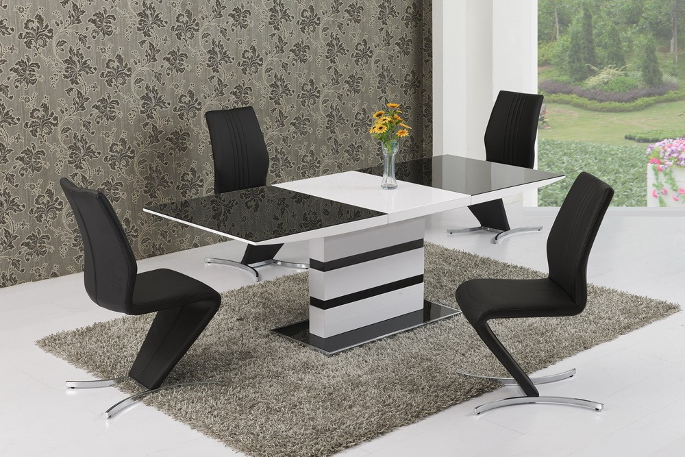 Gloss Dining Tables And Chairs With Regard To Well Known Arctic Grey Glass And White Gloss Extending Dining Table – 160Cm To (View 9 of 20)