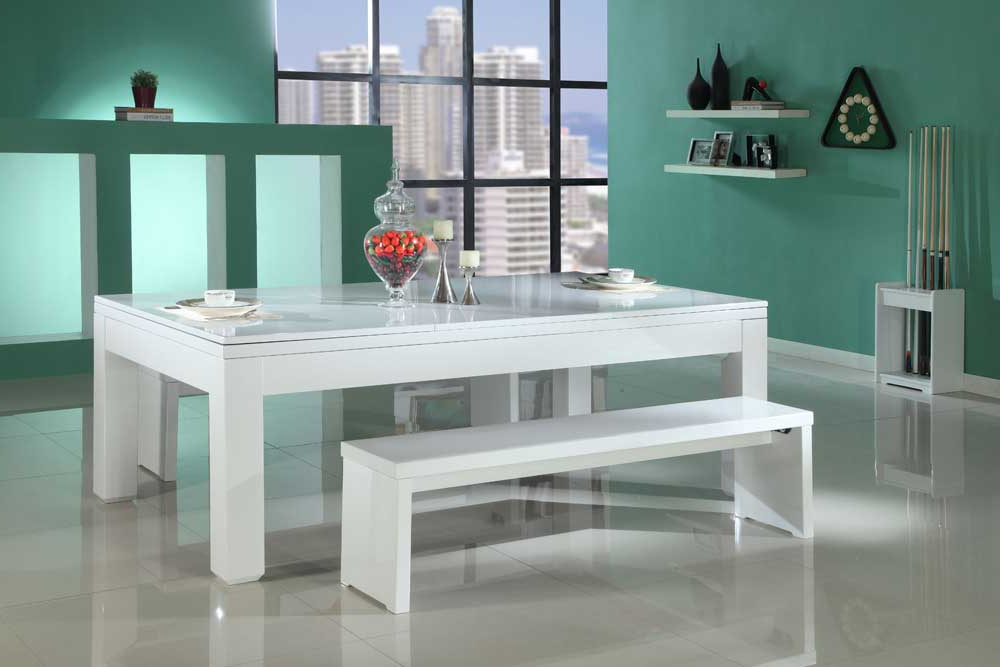 Gloss White Dining Tables Intended For Widely Used Gloss White Pool Dining Table – Custom Snooker (View 14 of 20)