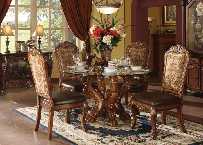 Grady 5 Piece Round Dining Sets For Well Known Shop Acme Dresden 5 Pc Round Dining Table Set In Cherry (Gallery 17 of 20)