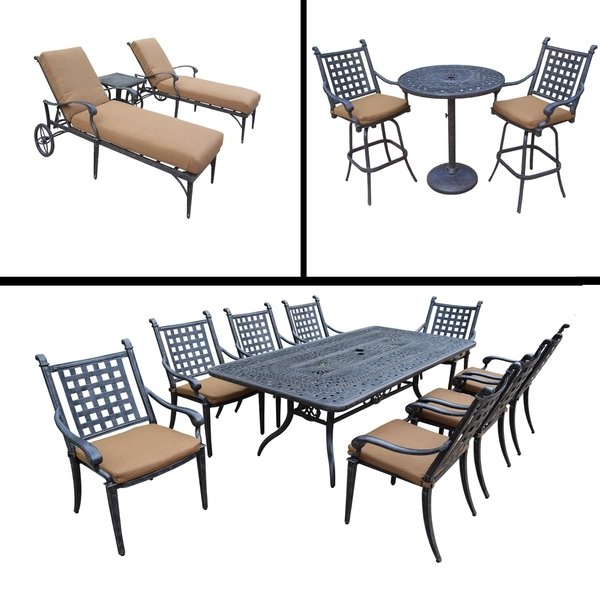 Grady 5 Piece Round Dining Sets In Favorite Shop Sunbrella Cushioned Set Includes 3 Pc Bar Set, 9 Pc Dining Set (Gallery 14 of 20)