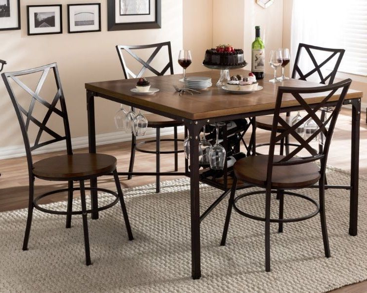 Grady 5 Piece Round Dining Sets With Regard To Popular 5 Piece Dining Table Set 4 Chairs Wine Rack Wood Metal Kitchen (View 9 of 20)