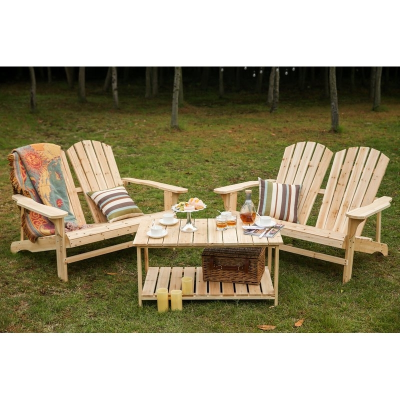 Grady Side Chairs Inside Newest Loon Peak Ogrady 3 Piece Double Adirondack Chair And Table Set (View 10 of 20)