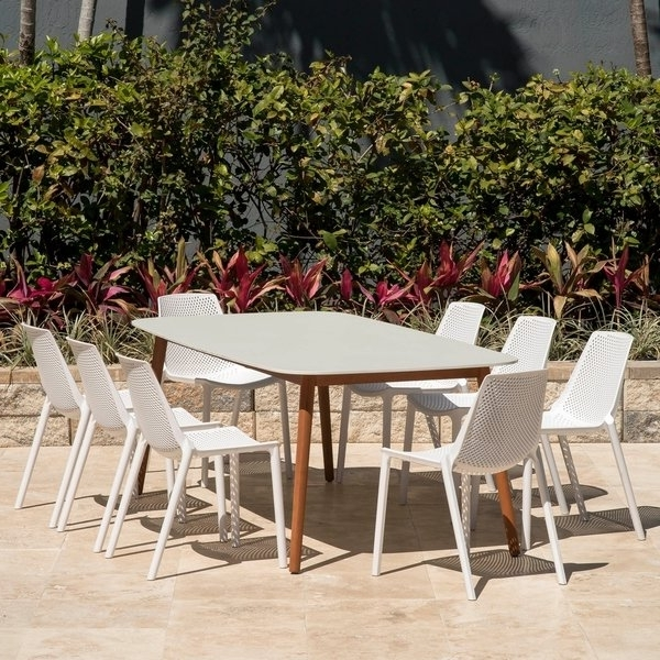 Grady Side Chairs Intended For Widely Used Shop Amazonia Nassau White 9 Piece Rectangular Sidechair Patio (View 20 of 20)